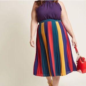 ModCloth Chiffon Colorblock Pleated Midi Skirt